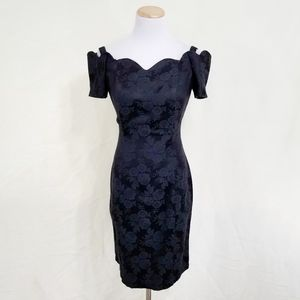 Vintage 90s black rose brocade cocktail dress